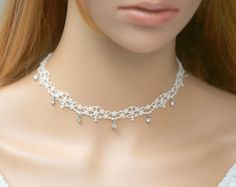 Romantic White Lace Choker Necklace with Pink Rose by FairybyFoxie Lace Necklace, Diamond Pendant Necklace, Pearl Pendant, Collar Necklace, Ribbon Jewelry, Beaded Jewelry, Jewelry Necklaces, Fine Jewelry, Jewelry Making