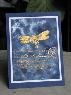 handmade card: firefly by franziska2010 ... beautiful watercolor blues in deep tones ... luv the look of gold embossing on top ...