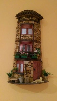 Clay Houses, Miniature Houses, Rock Crafts, Diy And Crafts, Glow Table, Plastic Bottle Flowers, Tuile, Tile Crafts, Play Clay
