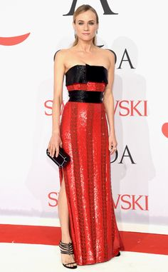 2015 CFDA: Diane Kruger is wearing a black/red beaded strapless dress with a side slit. I love this fierce dress! Diane pulls it off perfectly!