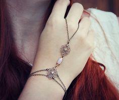 bridal jewlery pink stone slave bracelet, hand piece, bridesmaid gift, wedding accessory