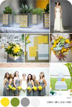 Yellow, Olive, White and Gray Wedding Inspiration Board