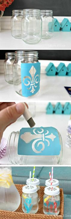 Stenciled Mason Jar Tumblers | diy craft TUTORIALS
