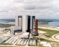 An aerial view of the Apollo 11 rollout from the Vehicle Assembly Building to the launch complex. May 20, 1969. (Source: NASA)