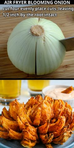 Blooming Onion Air Fryer, Baked Blooming Onion, Blooming Onion Recipes, Outback Blooming Onion, Air Fryer Oven Recipes, Air Frier Recipes, Air Fryer Dinner Recipes, Air Fried Food, Air Fryer Healthy