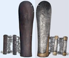Tatar bazu-band, 17th century. Engraved, slightly domed forearm guard forged of one piece. Riveted brass application with finely engraved geometrical pattern at the pulse. Attached pulse guard of riveted mail with two slender iron bars and one of originally two strap buckles. Length 29.5 cm.
