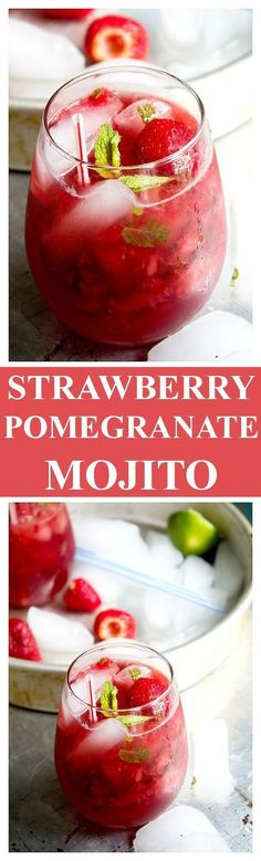 Strawberry Pom Mojito - Delicious and refreshing Mojito Cocktail made with strawberries and pomegranate juice. Get the recipe on diethood.com