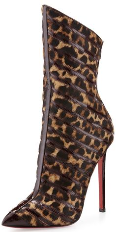 Christian Louboutin Gouzimine Leopard Print Red Sole Pointy Boot. with <3 from JDzigner www.jdzigner.com