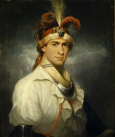 William Augustus Bowles (1763-1805), as a Native American Indian Chief - 1790 -  Thomas Hardy / Bowles was born in Maryland in 1763. He joined the British forces in America at an early age, but was dismissed from his post. He took refuge with the Creek Indians, learned their language, married a chief's daughter, and lived the life of an adventurer. The unorthodox and romantic dress he wears in the portrait is illustrative of this unconventional life.