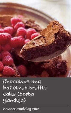 Chocolate and hazelnut truffle cake (torta gianduja) Wheat Pasta Recipes, Veal Recipes, Flour Recipes, Milk Recipes, Easy Cake Recipes, Baking Recipes, Truffle Cake, Truffle Recipe, Tasty Chocolate Cake