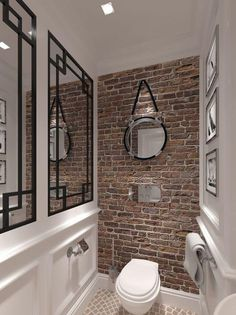 "10 ""Exposed Brick Tiles"" Bathroom Design Ideas Brick wall tiles can introduce a distinct heat to a washrooms interior. Brick Tiles Bathroom, Bathroom Tile Designs, Downstairs Bathroom, Wall Tiles, Bathroom Ideas, Earthy Bathroom, Tile Mirror, Small Wc Ideas Downstairs Loo, Toilet Tiles Design"