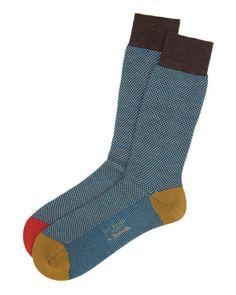 Birdseye pattern sock - Brown | Socks | Ted Baker
