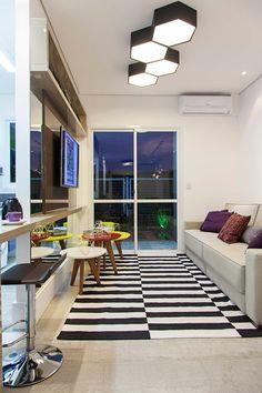 Apartamento decorado Ecco Villagio Canoas: Salas de estar modernas por carolina lisot arquitetura