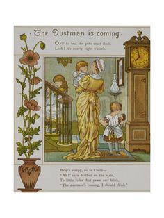 """The Dustman Is Coming. a Mother Takes Her Children To Bed. Illustration From"""" London Town"""" Giclee Print by Thomas Crane at Art.com.  with dolls"""