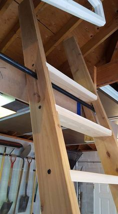 Tiny House Stairs, Loft Stairs, Tiny House Cabin, Attic Spaces, Attic Rooms, Loft Room, Bedroom Loft, Ship Ladder, Backyard Cabin