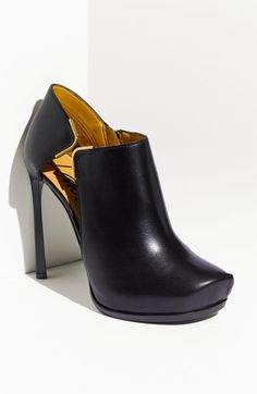 lanvin black leather high heel Bootie