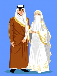 Saudi Arabian Brides With Brown And White Clothes. Couples Musulmans, Cute Muslim Couples, Muslimah Wedding Dress, Hijab Bride, Wedding Hijab, Wedding Bride, Wedding Ideas, Wedding Dresses, Love Cartoon Couple