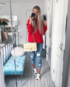 Instagram @emilyjanehardy Red knit jumper Miss Selfridge, paige ripped blue denim jeans, Cream chanel classic flap bag, Gucci Ace sneakers, spring fashion, spring style