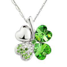 Sweet Rhinestone Decorated Clover Pendant Necklace For Women (GREEN)   Sammydress.com