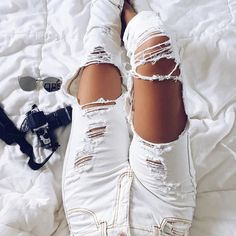 "thestyle-addict: "" Ripped jeans Sunglasses """