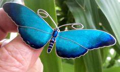Norwegian LARGE Silver & Blue Enamel Butterfly Brooch 1920s Marius Hammer Norway