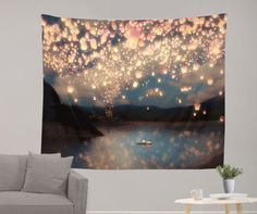 Floating lights tapestry decoration - dorm room tapestry
