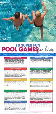 pool games for kids summer fun free printable… Pool Games Kids, Swimming Pool Games, Pool Party Games, Pool Activities, Free Games For Kids, Summer Pool Party, Kid Pool, Fun Games, Pool Fun