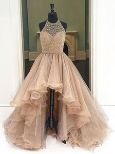 Dramatic A-Line Champagne Prom Dress - Halter Sleeveless High Low Beading