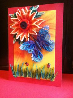 Unique Handmade Quilled Greeting Card + Envelo-box -Happy Birthday -  All Occasions - Quilling Art