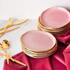 Beautiful 'Dessert Plates in Rose and Gold.'
