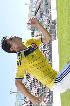 James models Colombian home jersey 4 WC Brazil 2014
