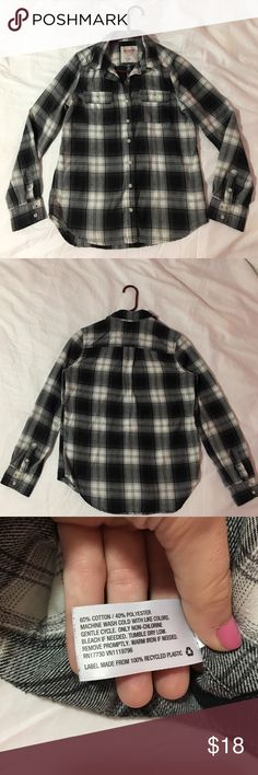Selling this Soft black and white plaid shirt: size medium on Poshmark! My username is: abbeyxo3. #shopmycloset #poshmark #fashion #shopping #style #forsale #Mossimo Supply Co. #Tops