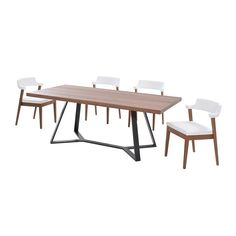 Italian furniture experts dreamed up the Archie-200 Dining Table Set. With a mid-century aesthetic and solid ash wood construction, as well as a walnut Canaletto-veneered top featuring a unique anthracite-matte lacquered finish, you can fully enjoy the chic padded upholstery.