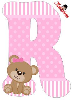 Alfabeto de tierna osita con fondo rosa. - Oh my Alfabetos!