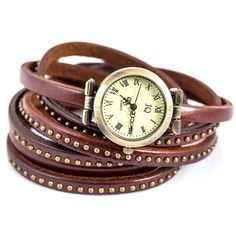 Collections by Hayley Studded Brown Leather Wrap Watch ($37) ❤ liked on Polyvore featuring jewelry, watches, brown, heart watches, leather watches, brown strap watches, wraparound watches and brown watches