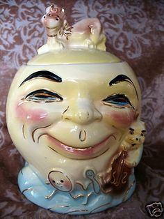 Vintage 1940 Cookie Jar RRP Co, #317 - Hey Diddle Diddle Cow Jumped Over Moon (: