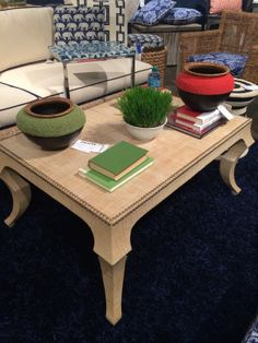 The Holden Coffee Table from Palecek. I love the shape, smaller scale and the grasscloth upholstery on it. Perfect for a coastal feel or something more eclectic. #stylespotters #hpmkt14