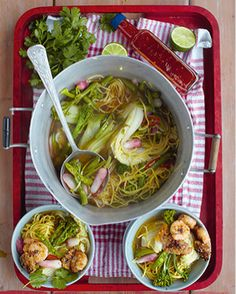 Noodle Broth by Jamie Oliver - looks delicious, simple and packed with goodness.  (This recipe page is actually for Sticky Squid Balls, Grilled Prawns & Noodle Broth - all prepped in 15 mins)