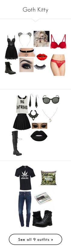 """""""Goth Kitty"""" by princessofthefashionless ❤ liked on Polyvore featuring Brinley Co, Alexander McQueen, Sophy Robson, Too Faced Cosmetics, STELLA McCARTNEY, Chantelle, Iron Fist, Lime Crime, Dsquared2 and Timberland"""