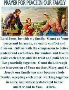 Prayers for family: Prayer for peace in the family † Faith Prayer, My Prayer, Catholic Prayer For Peace, Prayers For Peace, Catholic Prayers Daily, Rosary Prayer, Novena Prayers, Spiritual Prayers, Jesus Prayer