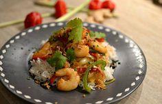 Crevettes sautées au piment et à la ciboulette façon thaï