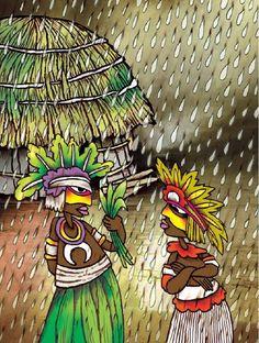 """Enrique Martínez (Cuba), ilustración para """"La joven de los cabellos de oro y otras historias"""", de Sergio Andricaín y Antonio Orlando Rodríguez, Panamericana Editorial."""