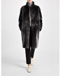 Joseph Reversible Polar Skin Brittany Sheepskin Coat in Gray | Lyst