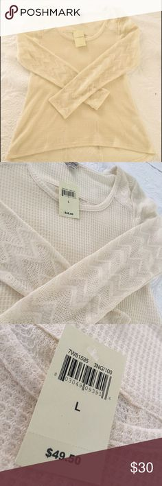 Beautiful Lucky brand knitted top. Lucky brand knitted top. Cream color with beautiful knitted sleeves and back design. See pictures. New! Lucky Brand Tops Blouses