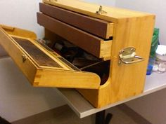 Dovetailed pine tool box with black walnut veneered lid and quartersawn lacewood veneered drawers. - Reader's Gallery - Fine Woodworking