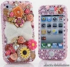 LuxAddiction Flowers & Bow Bling Case for All Phone/Device Models