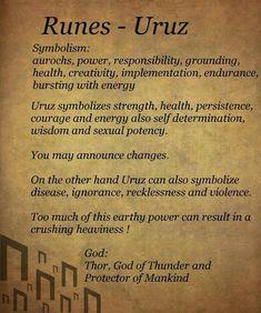 Rune Runes - Uruz by Elder Futhark Rune Meanings, Rune Symbols, Elder Futhark Runes, Mayan Symbols, Viking Symbols, Egyptian Symbols, Ancient Runes, Norse Runes, Viking Runes