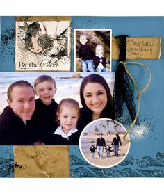 Lisa Hindsley used Stampendous' By the Sea stamp for this gorgeous scrapbook page of the Jochum family.