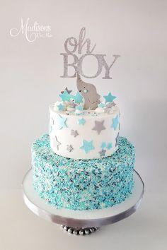 Torta Baby Shower, Idee Baby Shower, Elephant Baby Shower Cake, Baby Shower Sweets, Elephant Cakes, Baby Shower Cakes For Boys, Baby Shower Wall Decor, Baby Boy Cakes, Baby Shower Decorations For Boys