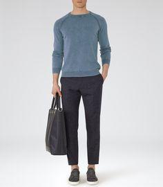 Mens Soft Blue Raglan Sleeve Sweatshirt - Reiss Anchor